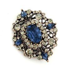 Victorian Vintage Gold Geometric Foliate Filigree Dark Blue Oval Brooches Pins