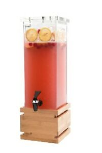 Rosseto Square Beverage Dispenser 2 gallon Bamboo Base