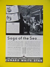 1938 SAGA OF THE SEA... CUNARD WHITE STAR ~ QUEEN MARY OCEAN LINER ~ TRAVEL AD