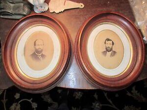 Superb Antique Civil War Era c.1865 Victorian Solid Black Walnut Oval Frame