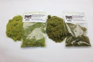 Static Grass 4mm Twin Pack - Moss/Meadow Green - Grass Flock First Class P&P
