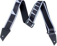 Genuine Jackson Logo Guitar Strap with Sharkfin Inlay Pattern, Black/White