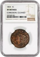 1824 1C Matron Head Large Cent Newcomb 4 N-4 NGC XF Details Corrosion Cleaned