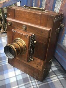 Alte Holzkamera Plattenkamera mit Objektiv, gebraucht, sehr guter Zustand