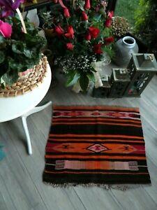 Vintage Colorful Small Kilim Rug 2x2.5 Anatolian Shabby Chic Flatwoven Wool Rug