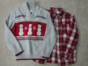 Boys Gymboree Gray Christmas Snowman Sweater M 7-8 w/ Matching LS Red Shirt EUC