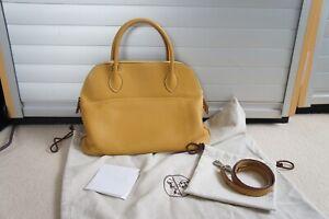 Hermes Yellow Mustard BOLIDE 31 leather handbag