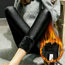 Ladies Extra Warm Thermal Winter Black Thick Fur Fleece Lined Legging Size- 24