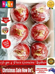 6 x Balls HIGH Quality LEATHER 4-Piece 156 gm Turf RED Bat FRIENDLY Cricket Ball