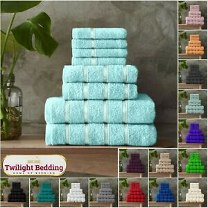 LUXURY 100% EGYPTIAN COTTON TOWEL 8 Piece Bale Set Face Hand Bath Boston Towels