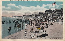Postcard Bathers + Crowd Ocean Beach New London CT