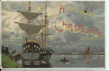"RARE VINTAGE GENUINE EARLY  HOLD TO LIGHT POSTCARD""A HAPPY CHRISTMAS"""