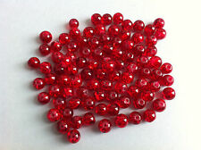 25 beads glass cracked red jewelry creation 0 5/16in