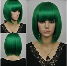 Hot fashion short green supple straight woman wig + free wig cap