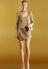 $1650 NEW Authentic Gucci Mini Skirt  Gold Leather w/Horsebit Belt, 44. #284322