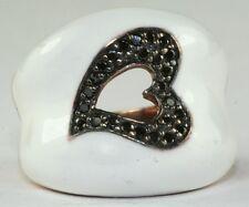 BNWOT ROSE GOLD STERLING SILVER WHITE ENAMEL 1/2 CARAT BLACK DIAMOND HEART RING