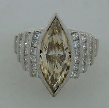 Smashing 3.54-ct COGNAC MARQUISE DIAMOND 2.38 cts WHITE DIAMONDS PLATINUM RING
