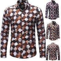 Luxury Men's Stylish Casual Dress Shirts Slim Fit T-Shirt Long Sleeve Print Tops