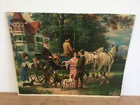Tableau Ancien estampe AUFBRUCH ZUR JAGD 1840 (XIXe-s) départ pour la chasse
