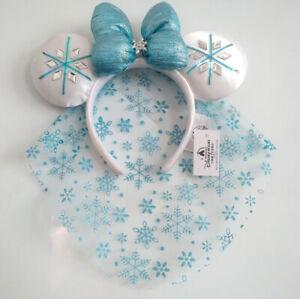 Disney Park Minnie Mouse Ears Snowflake Elsa Diamond Crystal Blue Headband
