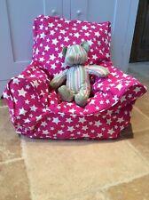 Handmade Children's Beanbag Chair Cover, Cerise Stars