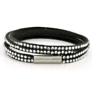Womens Black Leather Beaded Bracelet, Multi Row Layer Stack Beaded Wristband