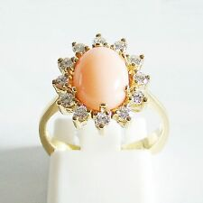 Ring Gold 750er Koralle Brillant Engelshaut 18 kt Diamant Edelstein Goldschmuck