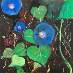 A fully open blue flowers MORNING GLORY Oil painting 8x8 in 20x20cm