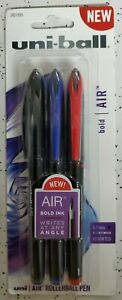 uni-ball® Air Rollerball Pen, .7 mm, Assorted Ink, 3/Pack,  Red Blue, Black