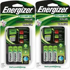 2 Pack Energizer Value Charger with AA Rechargeable NiMH Batteries CHVCMWB-4