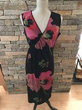 NWOT Ling-Shan Li New York - Silk Knit Dress - Black - Floral - Size 12