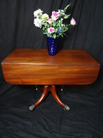 Antique English Regency Period Plum Mahogany Drawer Leaf Dining Library Table