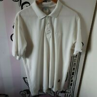 """Mens Size 42-44"""" Adidas All White Embroidered Logo Short Sleeve Polo Shirt"""