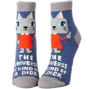 """Women's Ankle Socks Blue Q """"The Universe Is Kind of a Dick """" Funny Novelty Gift"""