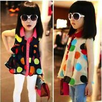 Baby Girl's Summer Sleeveless Chiffon with multi-coloured Polka Dot's Top Dress