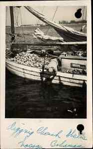 Nassau Bahamas Boat w/ Conch Shells c1950 Real Photo Postcard