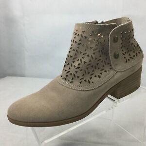 BareTraps Garin Ankle Boots Sz 9 1/2 Zipper Snaps Women's Taupe Cut Out