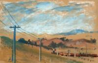 JEAN DRYDEN ALEXANDER Pastel Drawing TRAIN IN LANDSCAPE WAIPARA NEW ZEALAND 1973