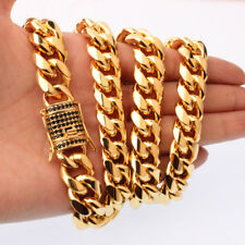 """Mens Hip Hop Yellow Gold Stainless Steel Cool New Heavy Necklace Chain 15mm24"""""""