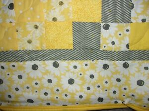 Homemade Yellow and Gray Queen Quilt Daisies