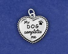 Dog Charm Pendant Sterling Silver Pl My Completes Me Pawprint Paw Print Dogs Pet