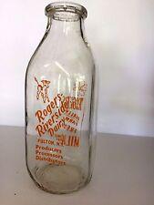 Vintage Square  Quart Milk Bottle - Roger's Riverside Dairy, Fulton, N.Y.