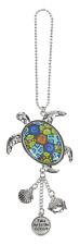 SEA TURTLE Ganz Car Charm with Dangle Charms and Ball Chain for Rearview Mirror