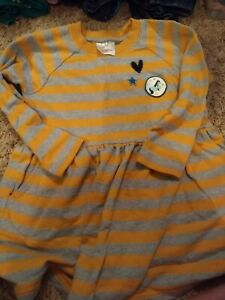 Size 5 Hannah Anderson Yellow And Gray Striped dress Unicorn
