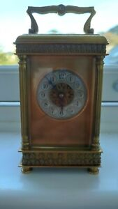 Beautiful Antique French Brass Carriage Clock With Key (Spares/Repair)