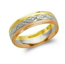 14K Tricolor Gold band Ring Men's Women's Wedding Engagement 6mm size 5-13