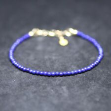 Natural Smooth Lapis Lazuli Skinny Bracelet 14k Gold Filled , 9th Anniversary