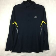Adidas Mens Large Pullover Half Zip Navy Blue Yellow Base Layer Running Wool