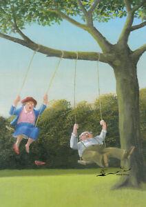 Postkarte: Gerhard Glück - älteres Paar beim Schaukeln