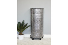 Embossed Black/ silver 6 drawer tallboy embossed shabby chic